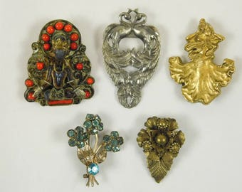 Lot of 5 Vintage Mixed Metal Brooch Pin Silver Gold Bouquet Dancing Lady Swan Flowers Goddess Crafting Jewelry Making