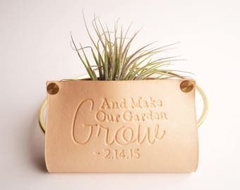 Leather Air Plant Holder   Geometric Wall Hanger Planter   Unique Plant Stand   All Things Grow With Love   Air Plants Indoor Decorations