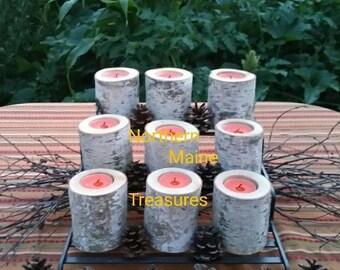 9-MAINE-WHITE-BIRCH Bark-Handmade Wood Log-Candles-Rustic Primitive Halloween-Fall Wedding-Decor-Orange Tea Light Candles