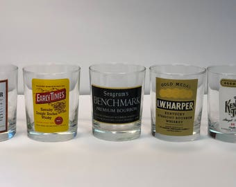 Vintage Collection of Five Bourbon Bar Glasses Old Kentucky Tavern Seagrams Benchmark I W Harper Early Times and Old Forester