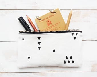 Handmade organic cotton mini makeup pouch tribal print / pencil case