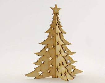 Christmas Tree with Cut-Out Stars or Baubles, Christmas Tree Ornaments, Xmas Tree Decoration, Hangers, Decor, Wooden Gift, Lasercut