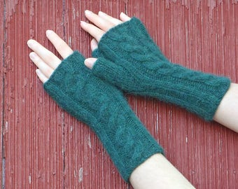 Forest Green alpaca fingerless gloves, texting gloves, knit cabled mitts, knitted wrist warmer alpaca fingerless mitts made in usa /Ready