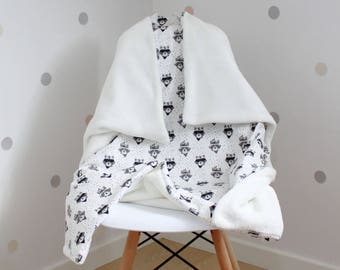 Certified Oeko-Tex100 cotton - a great baby blanket/plaid lined with thick and soft panda Microfiber fleece