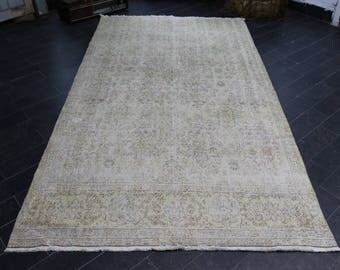 Rustic Rug, Bohemian Rug, Handknotted Turkish Rug, Pale Color, FREE SHIPPING ,Turkish Rug, Vintage Rug 4.7 x 8.7 Area Rug No 654