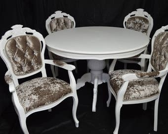 Shabby Chic French Style Dining Table & 4 Louis Chairs with arms made to order