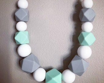 Silicone teething necklace - mint grey white