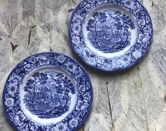 "Staffordshire Liberty Blue 6"" Plates"
