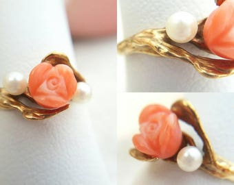 Final Sale Vintage 10k yellow gold handcarved coral rose and akoya pearl ring