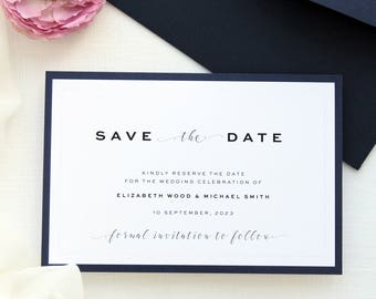 Elizabeth 2 Save the Date Cards, Save the Date Template or Printed Save the Date Cards, Custom Colors, Navy or White Envelopes
