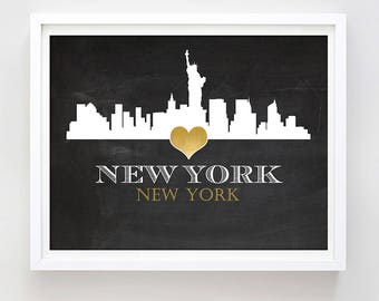 New York Skyline Print New York City Print Love NYC Print Printable NYC Wall Art Black and White Skyline Poster Gift Idea Digital Download