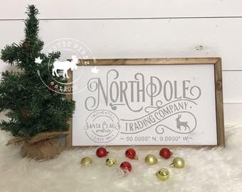 North Pole Sign Christmas Farmhouse