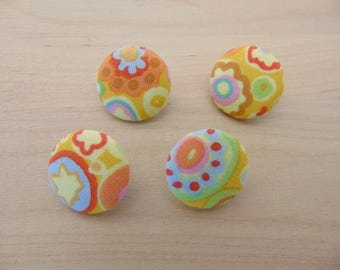 4 x buttons 19mm multicolored yellow TOUR12 floral fabric