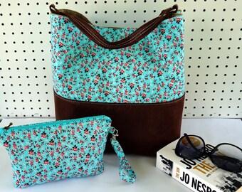 Teal Floral Shoulder Bag - Bucket bag - Diaper bag - Nappy bag - Mum's bag - large hobo bag - Weekender Bag - summer tote