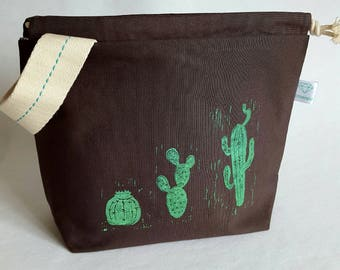 Happy Cacti Printed Canvas Project Bag