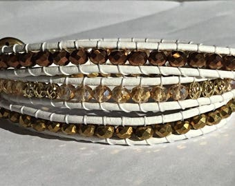 Gold wrap bracelet, wrap bracelet, white and gold wrap bracelet, white leather wrap bracelet