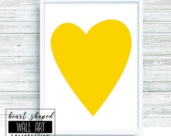 Yellow Heart Shaped nursery printable wall art - A3 size - home decor