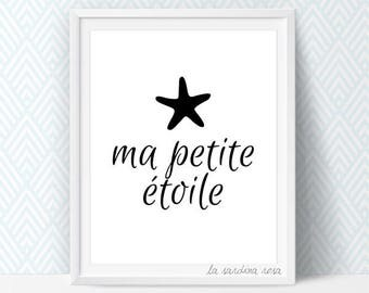 Typography wall art, Black and white art, Scandinavian nursery print, Typography printable french quote, Minimal nursery art #0007N