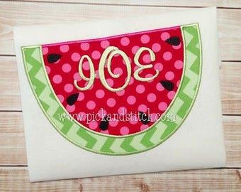 Watermelon Applique Monogram Shirt - Girls Initial Watermelon Shirt - Summer Clothing - Toddler Girl Summer Shirt - Watermelon Summer Shirt