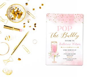 Pop the bubbly pdf,Pop the bubbly shes getting a hubby card,,Bridal Shower Brunch Invite, Elegant Brunch Invites, Pink Gold Invitations