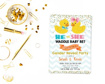 Waddle It Be card,Gender Reveal or Baby Shower,Sweet Little Boy or Girl Invite,Gender Reveal Party,Baby Reveal Invites,gender reveal