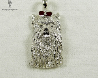 "Handmade Sterling Silver 925 Pendant ""Yorkshire Terrier"" with red enamel ,"