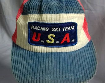 Rare vintage corduroy cap Racing Ski Team USA with earing cover adjuster style m size