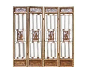 Sales Chinese People Carving Window Pattern Wood Panel Floor Screen cs1523E