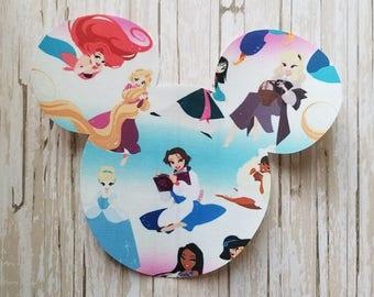 "HUGE 7""x8"" Disneyland Disney Princess Mickey Mouse Fabric Iron On Applique DIY No Sew, Jasmine, Belle, Snow White Inspired Matching Shirts"