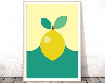 Lemon Print, Kitchen Printable Decor, Printable Fruit Art, Kitchen Wall Poster, Lemon Wall Decor, Kitchen Citrus Art, Digital Download Art