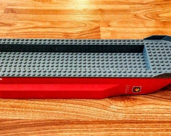 Lego Large Red Fire Boat, 51 x 12 x 6 with Side Bulges and Dark Bluish Gray Top Complete Assembly, 62791c01