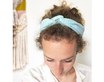 PASTEL ▷ old bow headband, flower pattern graphic bicolor - blue and white - head band!