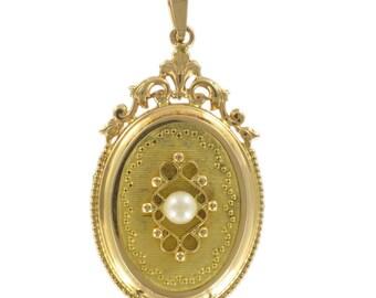 Médaillon vintage or jaune perle