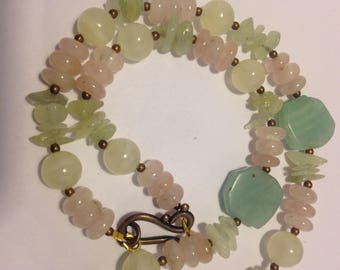 Ladies Beaded Necklace, Semiprecious Stones, Summer, Casual, Beach, Pastels, Wedding, Special Occasion Wear,