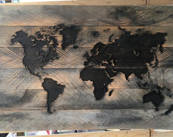 Reclaimed World Map Carved in wood