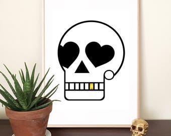 Skull Print • Skull •Cool Skull Print • Wall Art • Cool Art • Digital Art Print • Gold Leaf • Silver Leaf • Monochrome • Gold • Silver