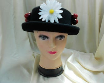 Mary Poppins Hat. Black Wool Hat. Edwardian-Style Hat. Historical Costume Hat. World Book Day Hat.
