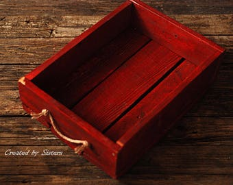 vintage red photography prop box,Rustic crate photo prop, newborn photography prop, newborn props, photography props,