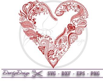 SVG Valentine Heart, EPS Valentine Heart, SVG files Valentines, Instant download, Floral vector file, svg files heart, svg love