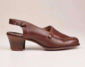 SALE sz 7.5 C Vintage 70s Brown Leather Closed Square Toe Slingback Casual Shoes Asmmetric