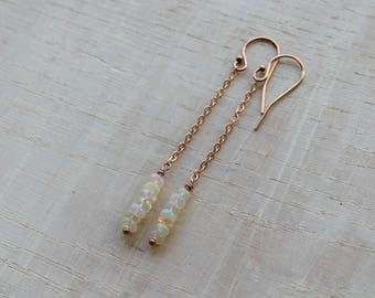 Delicate welo opal earrings, Ethiopian opal dangle earrings, opal jewelry, gemstone earrings, gift for her, Octobre birthstone, natural opal