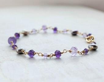 Amethyst Rosary Bracelet with Pearl Amethyst Wire Wrap Gold Bracelet Febrary Birthstone Jewelry Mothers Day Gift Bracelet Femme Boho Jewelry
