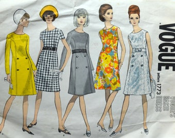 1960s Vogue Vintage Sewing Pattern 1773, Size 10; One-Piece Dress