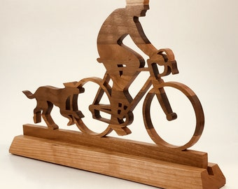 Cyclist with his Dog Statuette, Scrollsawn, Laminated Hardwood