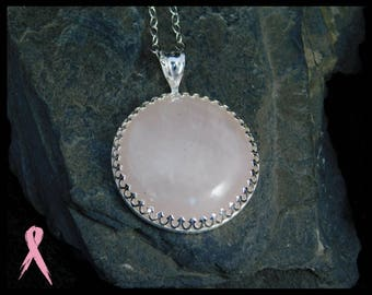 Large Rose quartz pendant necklace, sterling silver (0.925), 25mm (1 inch). With donation to Breast cancer research. 244