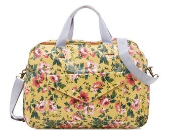 Oilcloth Overnight Bag- Floral rose- Mothers Nappy bag Baby bag Diaper bag- Women Travel weekend bag- Ladies Duffel bag- Large Carry on bag