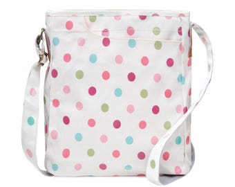 Crossbody College laptop Bag - Polka dot- Oilcloth computer school bag - Work messenger bag - Ladies purse- University bag- Laminated cotton