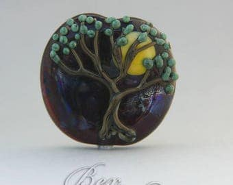 Silvery Night lampwork focal bead