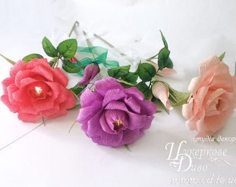 Сrepe paper rose wich Ferrero Rocher - candy gift for Mother's Day, Birthday - sweet flower - crepe flower - Candy arrangement - gift woman