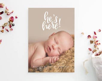 Printed Birth Announcements - Hand Drawn Scallop - Hand Lettered - He's Here - Photo Cards - Newborn Boy - Adoption Announcement - Printed